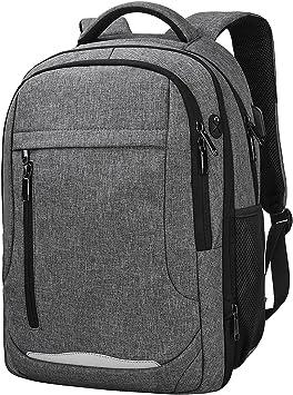 NEWHEY Mochila Portátil Hombre Impermeable Backpack para 15,6 Pulgadas Ordenador USB Puerto Casual Deporte Negocios Escolares Viaje Trabajo Daypack Gris: Amazon.es: Electrónica