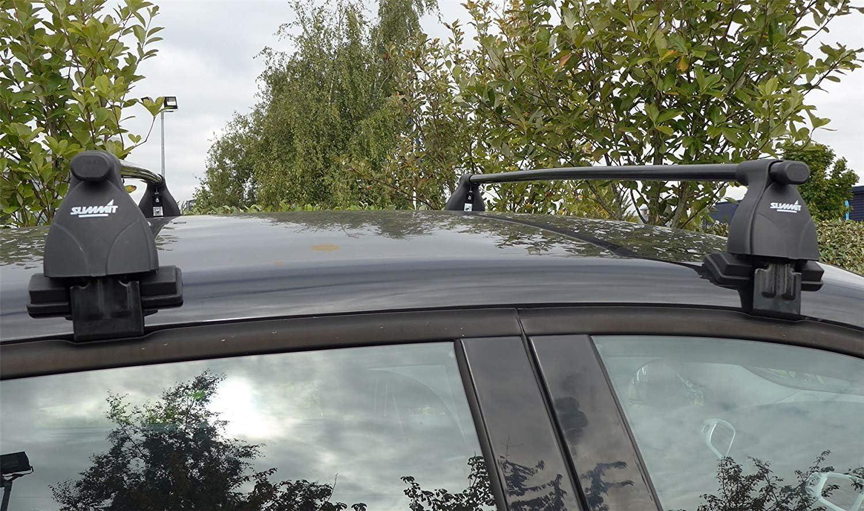 Set of 2 Summit SUP-025 Premium Multi Fit Roof Bars Black Steel