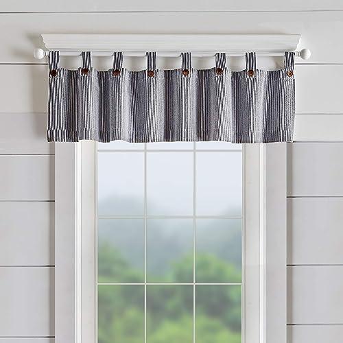 Elrene Home Fashions Tucker Ticking Stripe Window Curtain Kitchen Valance, 60 W x 15 L 1, Black