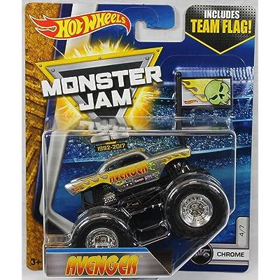 2020 Hot Wheels Monster Jam 1:64 Scale with Team Flag - Avenger Chrome 4/7 ( '57 chevy): Toys & Games