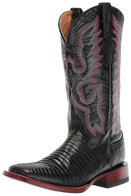 7f8582f69fdf4 Ferrini Women's Lizard Cowgirl Boot- Wide Square Toe Black 6 ...