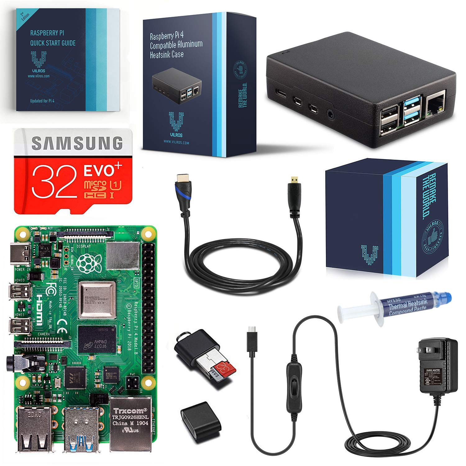 Vilros Raspberry Pi 4-4GB RAM- Complete Starter Kit with Heavy-Duty Self-Cooling Aluminum Alloy Case by Vilros