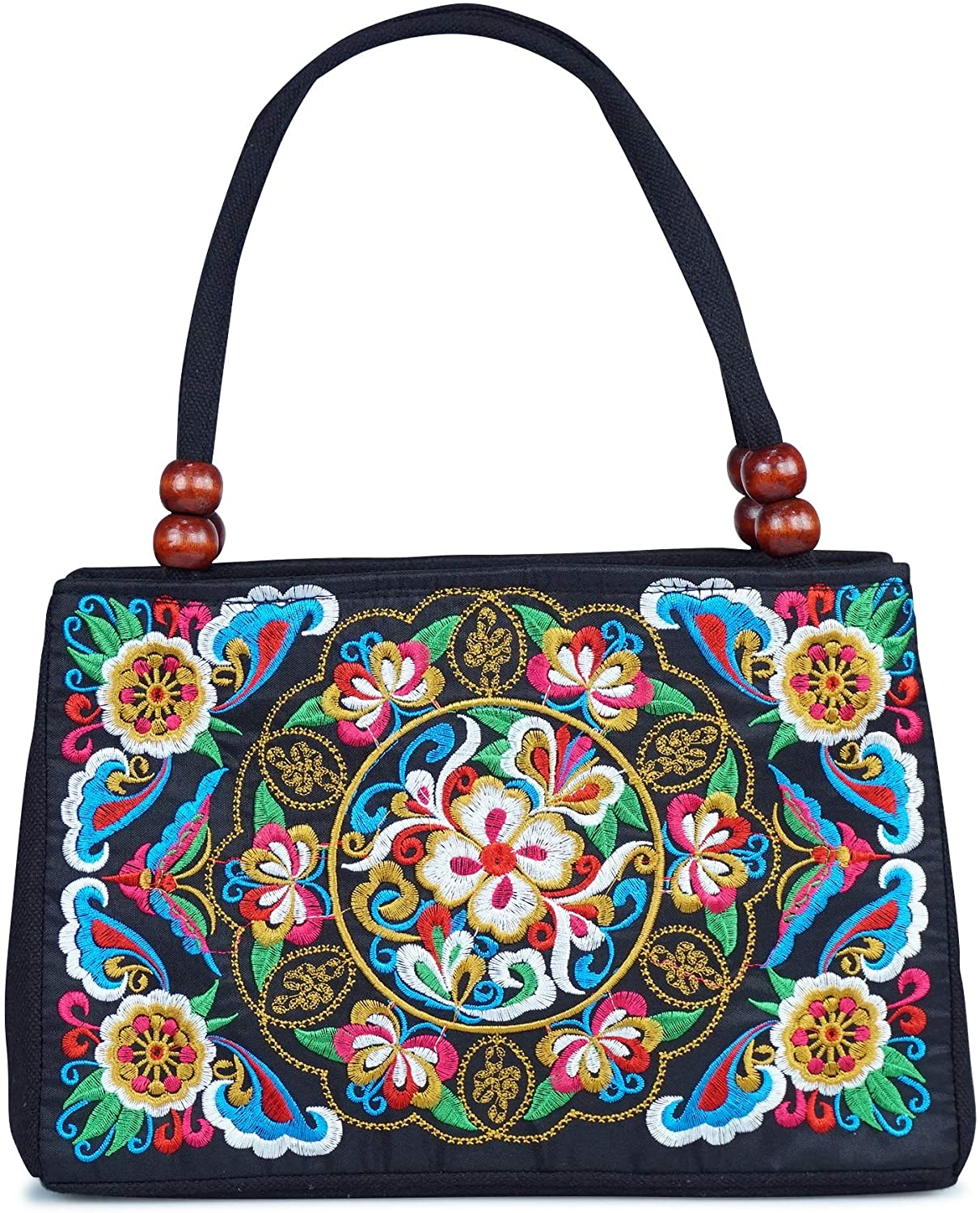 Double-Sided Embroidery Totes Bag Travel Beach Bag Vintage Embroidery Ethnic Shoulder Bags