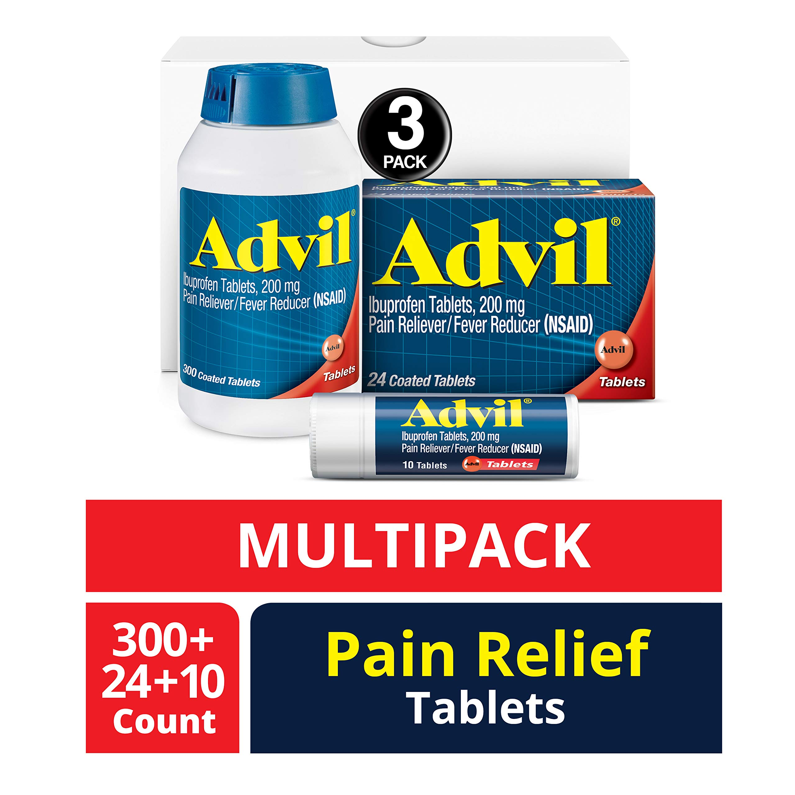 Advil (300 Count, 24 Count, 10 Count) Home & Away Pack, Pain Reliever / Fever Reducer Coated Tablet, 200mg Ibuprofen, Temporary Pain Relief by Advil