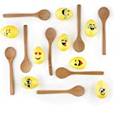 The Twiddlers Sumer Egg Relay Game with Emoji Eggs, 8 Wooden Spoons & 8 Eggs - Perfect Summer Gift for kids to encourage outside activity