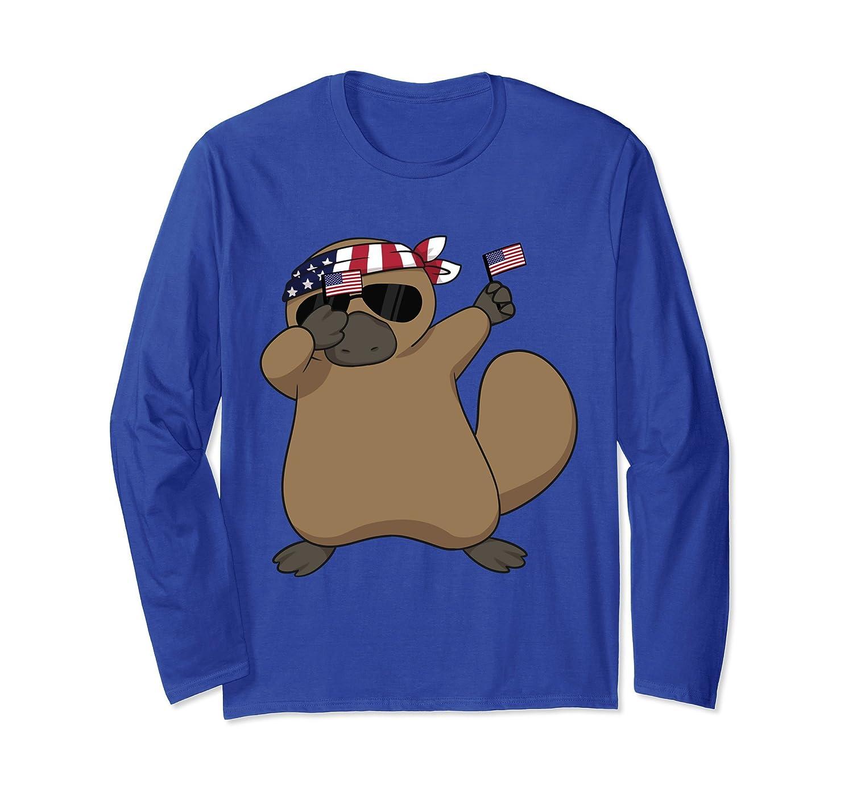 American Pride Platypus USA Dabbing Funny Long Sleeve TShirt-AZP