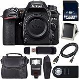 "Nikon D7500 DSLR Camera (Body Only) International Model 1581 + 128GB SDXC Class 10 Memory Card + Universal Slave Flash unit + 6"" HDMI to Mini HDMI Cable + Carrying Case Bundle"