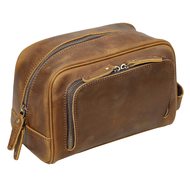 Polare Vintage Full Grain Leather Handmade Travel Toiletry Bag for Men – Dopp Kit – Shaving Kit with YKK Metal Zippers