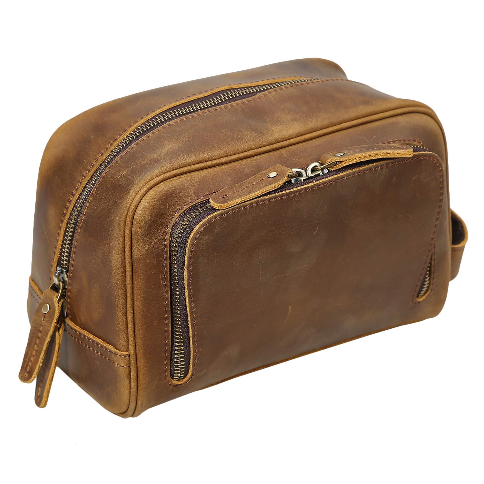 Polare Vintage Full Grain Leather Handmade Travel Toiletry Bag for Men - Dopp Kit - Shaving Kit with YKK Metal Zippers by POLARE ORIGINAL