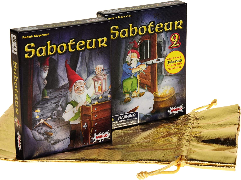 Saboteur Card Game _ with Saboteur 2 Expansion Deck _ Bonus Gold ...