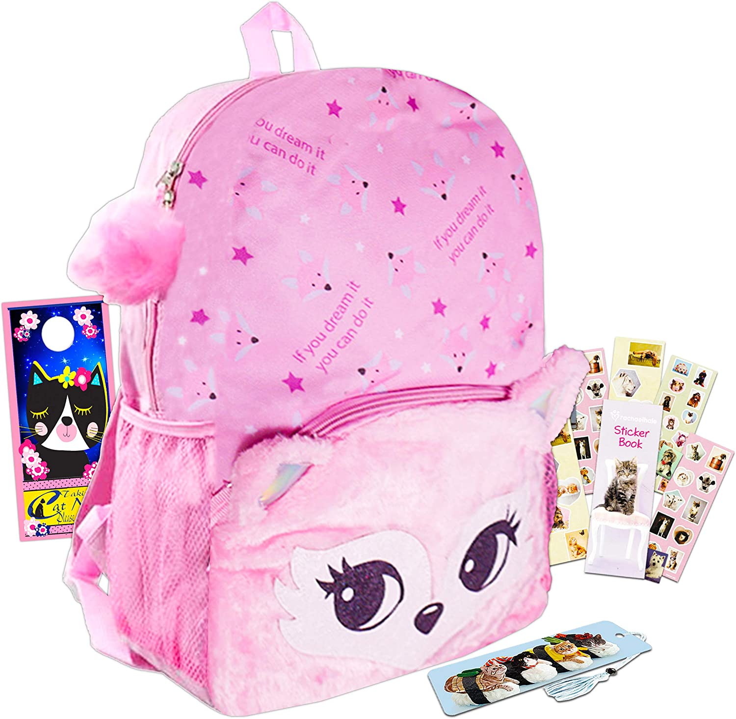 Cute Fox Backpack for Girls Teens ~ Premium 16 Fuzzy Plush Backpack with Bonus Stickers and Accessories Cute School Supplies