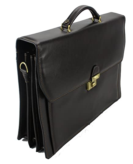 Frédéric Johns® Cartable en cuir 3 compartiments cartable cuir porte document 3 soufflets sac business serviette mallette refente de