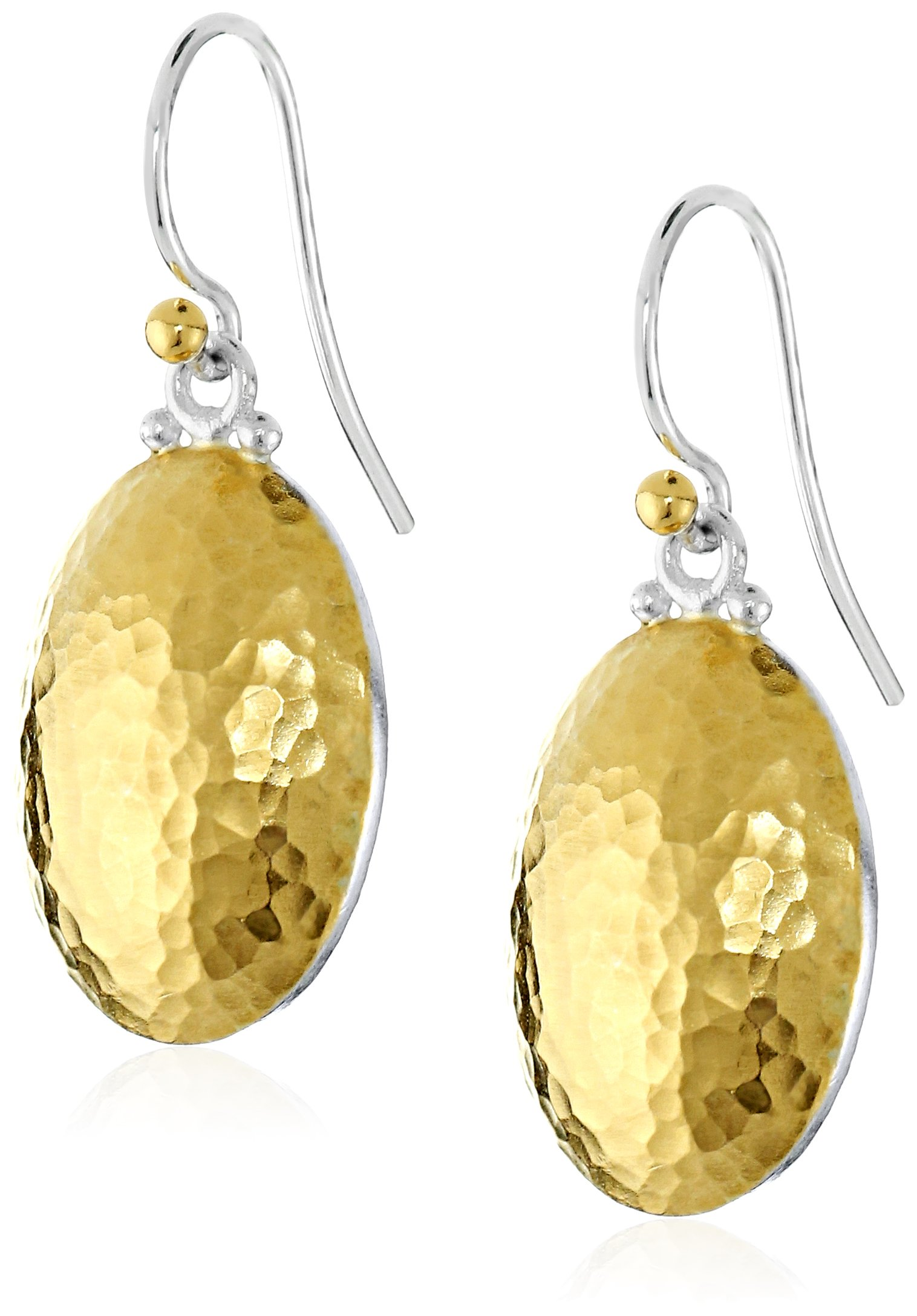 GURHAN ''Jordan'' Silver, Gold Faced Hook Earrings by Gurhan