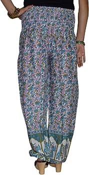 Marusthali Indio de algodón Pantalones de para Fiesta Vestidos Printed Hippie Mujeres Pantalones harén Pantalones Blue & Green Talla única: Amazon.es: Ropa y accesorios