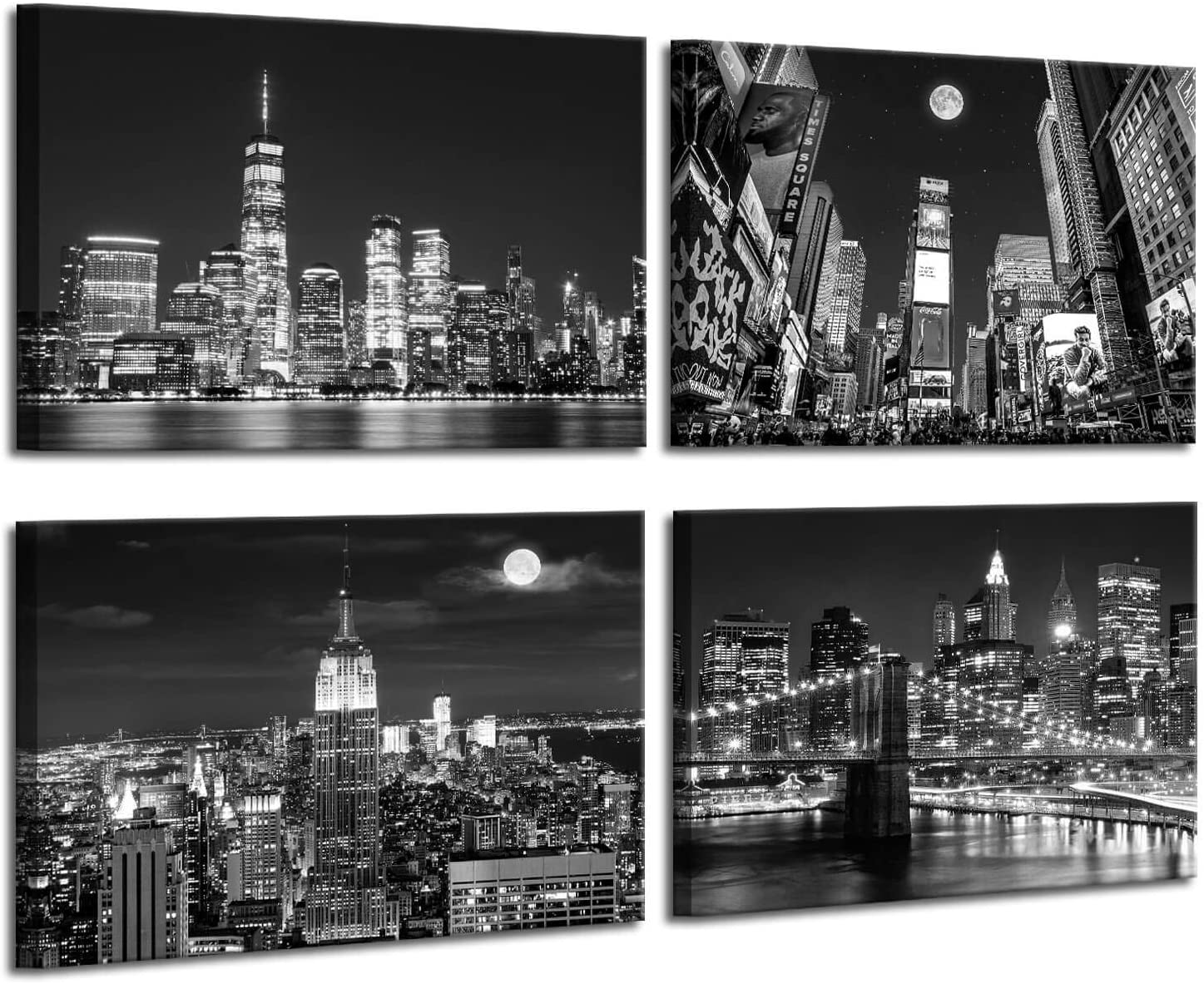 Black And White Pictures for Wall Decor for Living Room Night View of Manhattan Building Artwork for Home Walls Bedroom Wall Decoration Black Art Office Decor Black And White Wall Art 12x16inchx4pcs