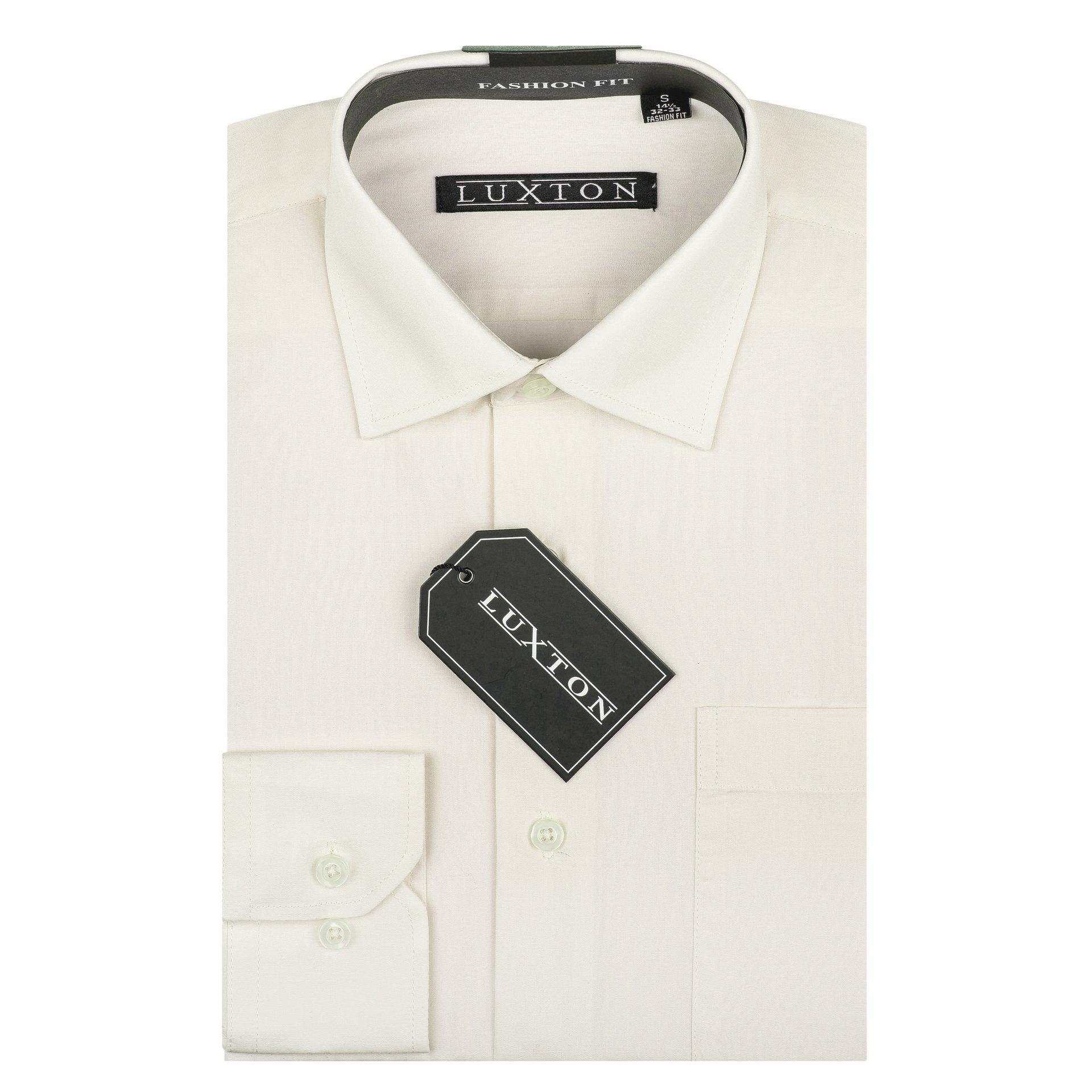 Luxton Cotton Poly Shirt Collection Regular Fit (Off White 639,Medium/Neck:15-15 1/2, Sleeve:34/35)