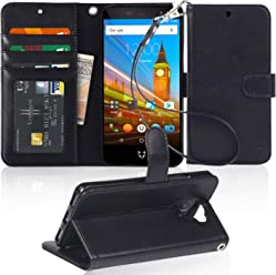 Arae Wileyfox Swift 2X case, Wileyfox Swift 2X PU leather flip wallet Case with card holders and cash pocket,black