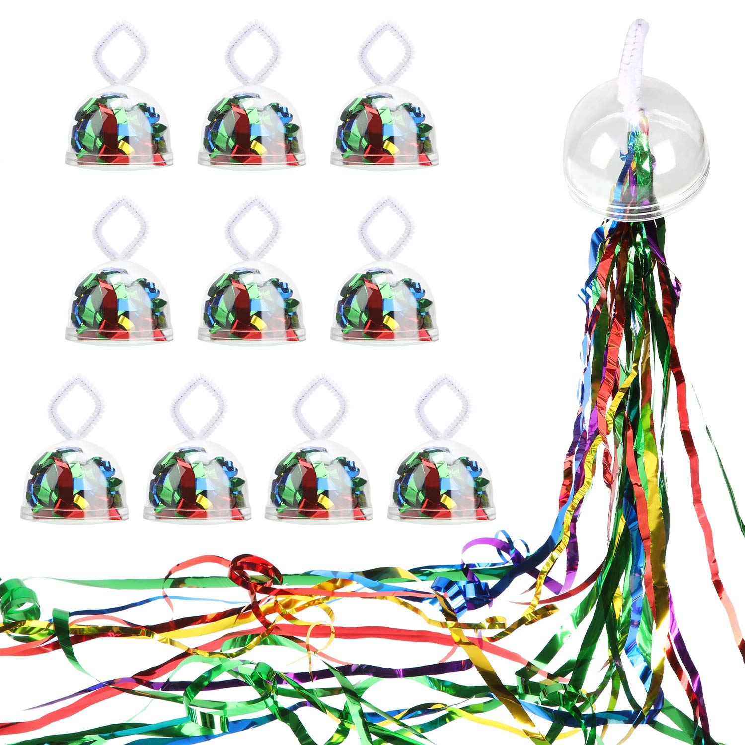10 Pieces Throw Streamers Party Streamers for Birthday Wedding Graduation Party Favors Shows (Metallic Multicolor) by meekoo