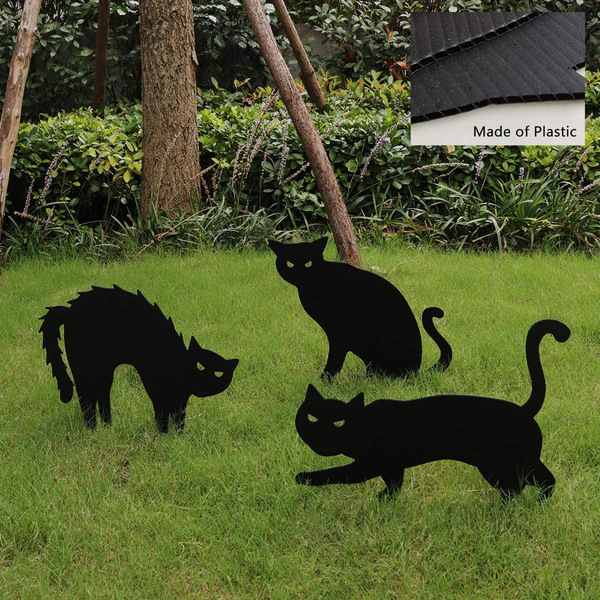 Ivenf Halloween Decorations Outdoor, 3ct Black Cat Silhouette Yard Signs with Stakes, Scary Family Home Front Yard Party Plastic Decor