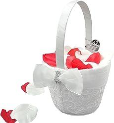 EinsSein 1x Streukörbchen Hochzeit Liz weiss Blumenkinder Hochzeit Blumenkorb Blumenkörbe Blumenmädchen Blumendeko basket girl flower
