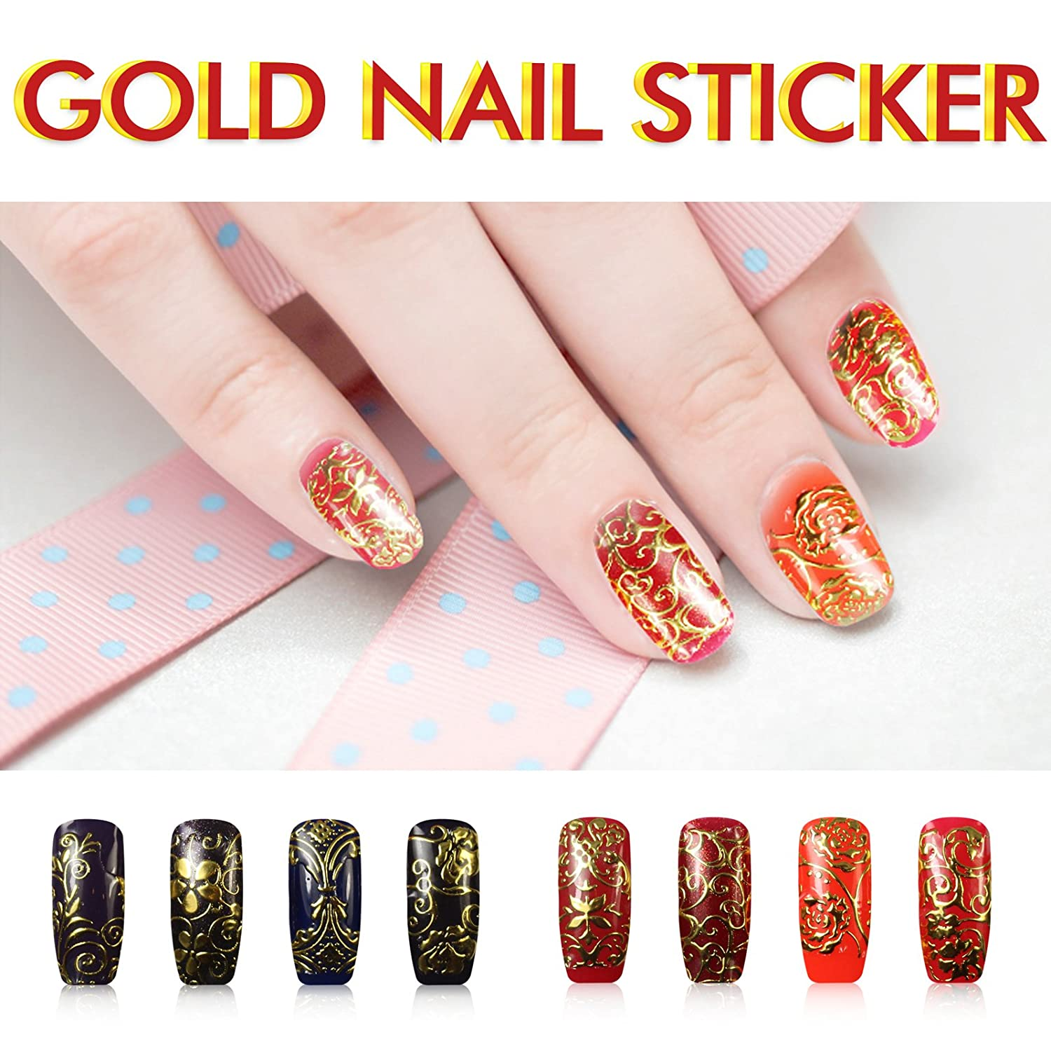 Amazon.com: Gold Nail Nail Art Stickers/Nail Decals /Nail Tattoo ...