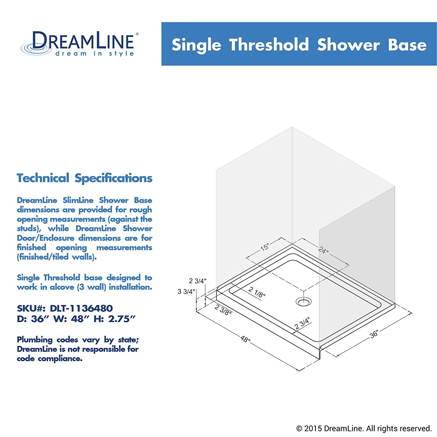 DreamLine DLT 1136480 SlimLine Single Threshold Shower Base, 36 Inch X 48 Inch,  White, Shower Bases U0026 Pans   Amazon Canada