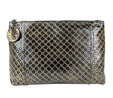 143095da384a Bottega Veneta Intrecciomirage Gold Black Leather Clutch Pouch Bag 301204  8414  Handbags  Amazon.com