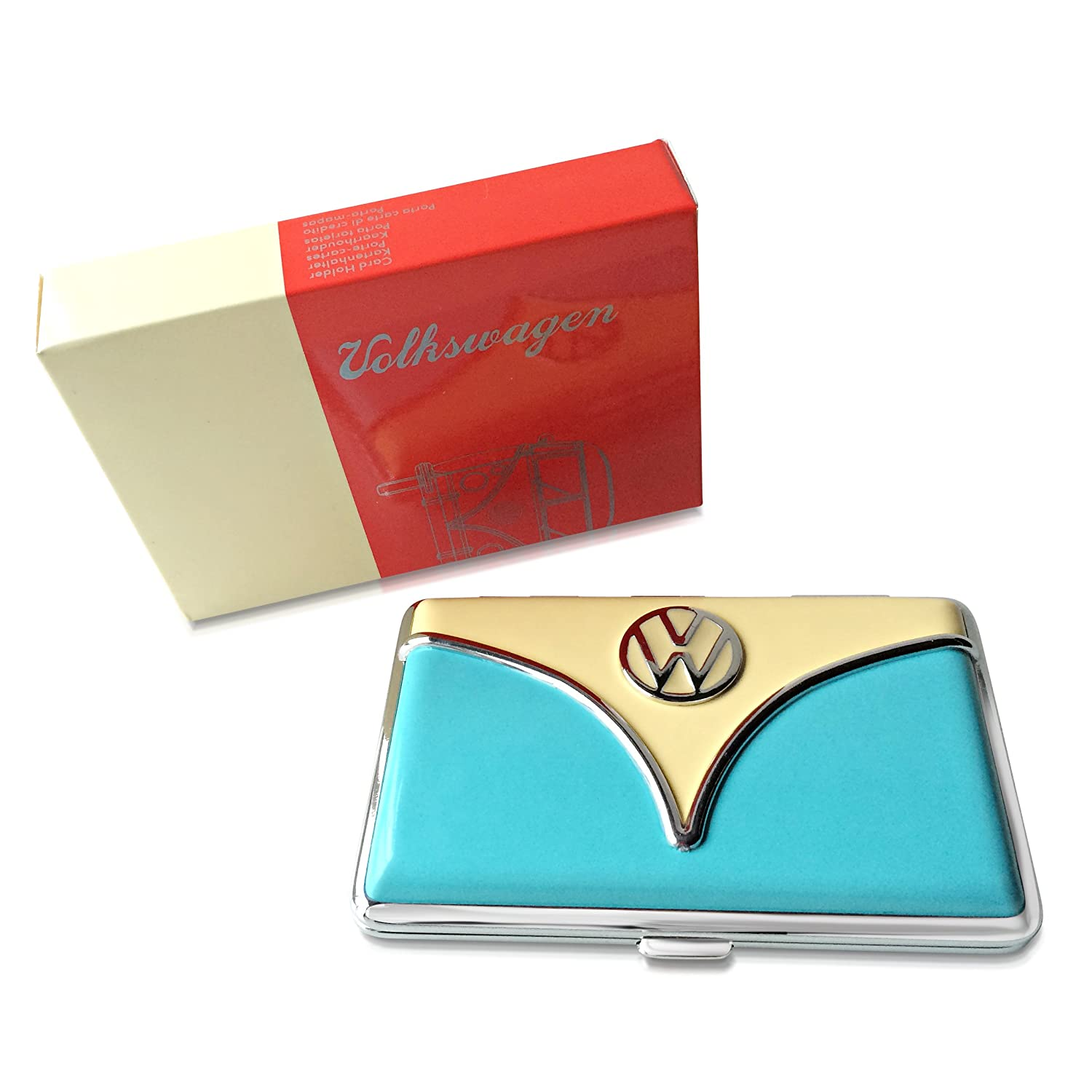 Brisa VW Wallet/Business Card Holder Blue & Tan
