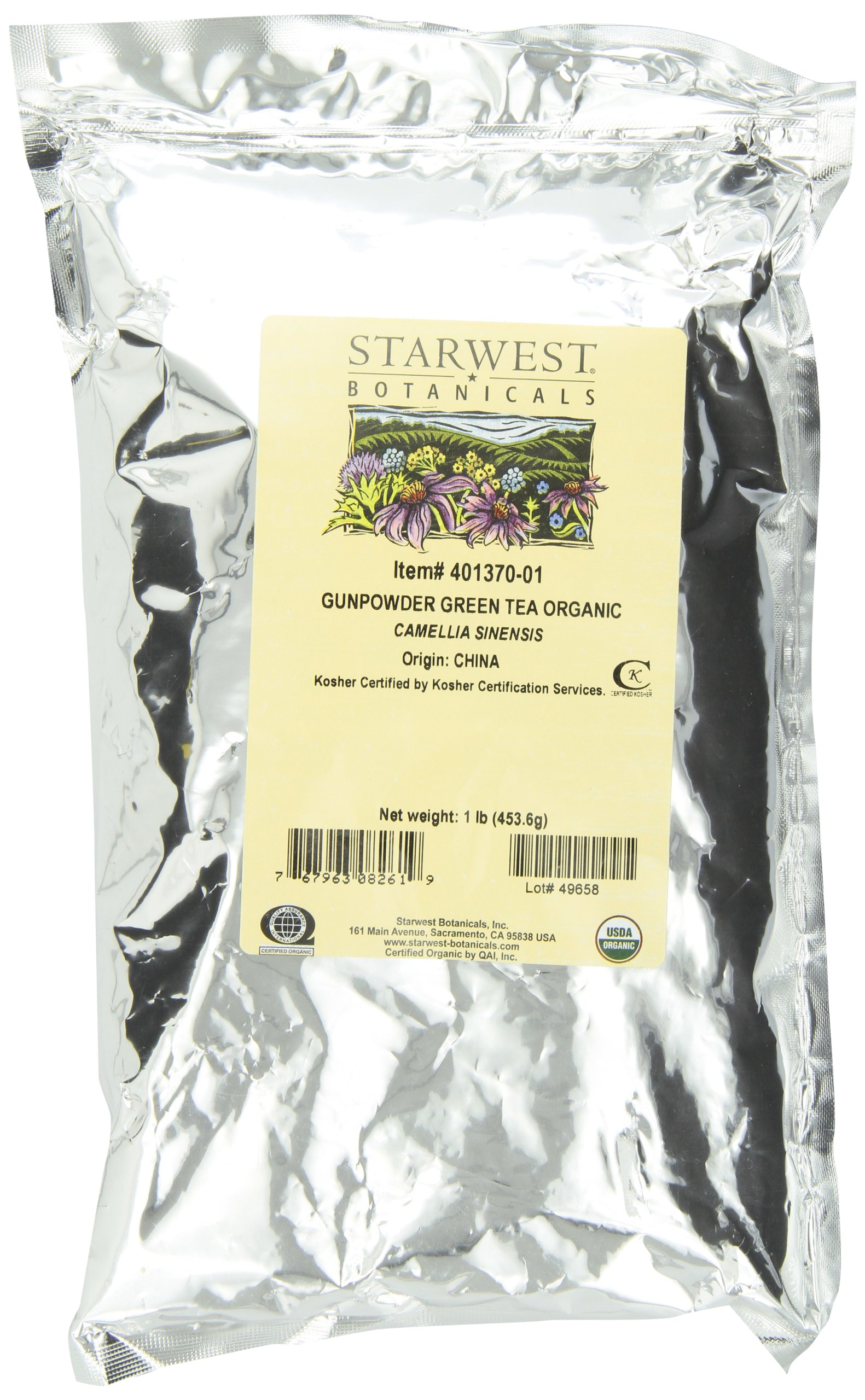 Starwest Botanicals Organic Gunpowder Green Tea, 1 Pound