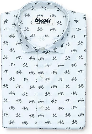 Brava Fabrics | Camisa Hombre Manga Larga Estampada | Camisa Blanca para Hombre | Camisa Casual Regular Fit | 100% Algodón | Modelo Fixed Gear Rider: Amazon.es: Ropa y accesorios