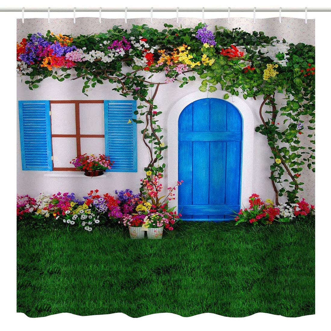Garden Home Decor Bathroom Shower Curtain, Summer Garden Spanish House with Wooden Door Window Flowers Grass Nature Scenery Art Print, Fabric Waterproof Bathroom Décor Set with Hooks, Green Red white