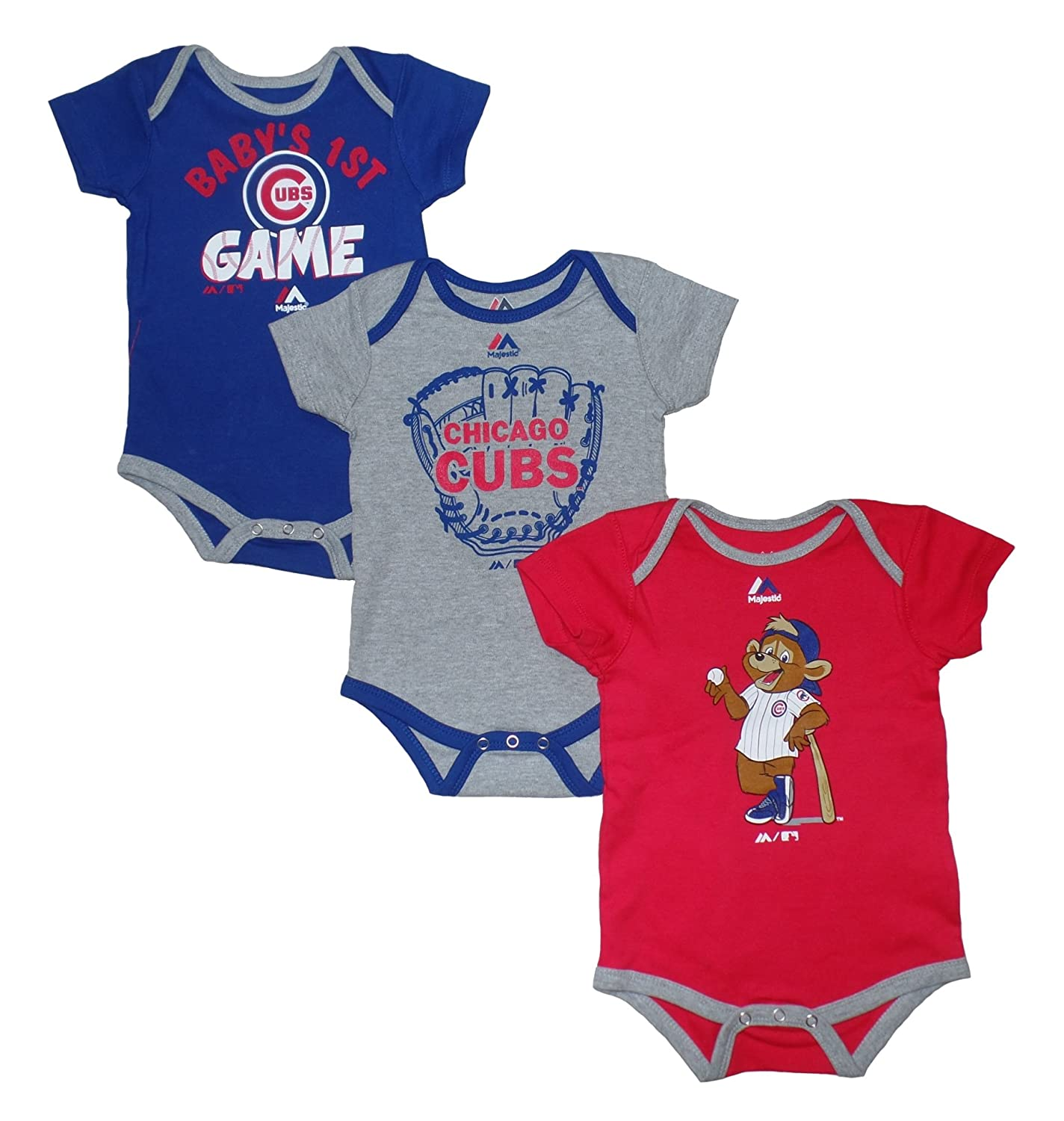 """Amazon Chicago Cubs """"Small Fan"""" Baby Infant 3 Piece Creeper"""