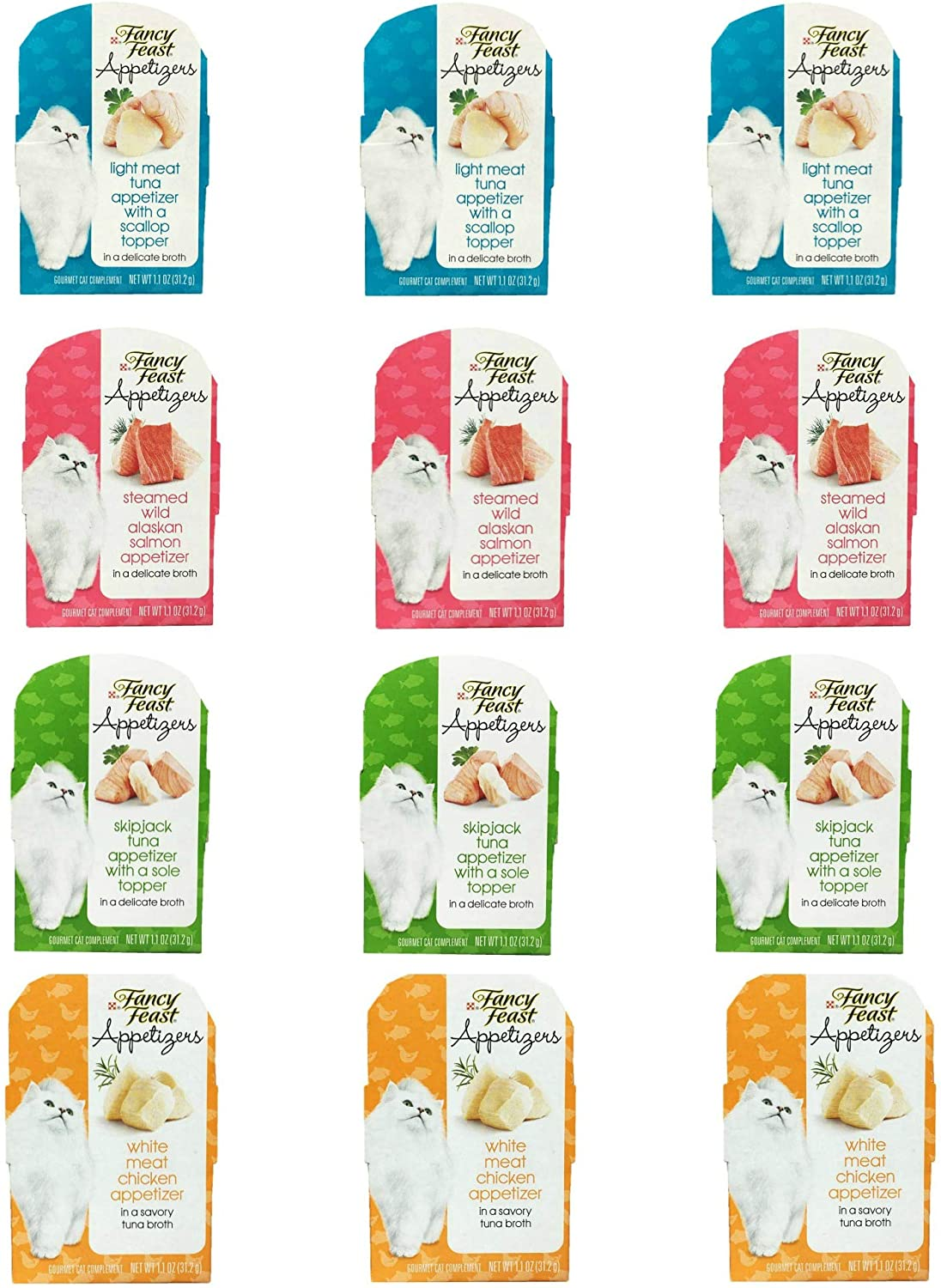 Purina Purely Fancy Feast Appetizers Cat Treats Flavor Variety Sampler Bundle of 12 Containers, 1.1 Ounces Each (3 Light Meat Tuna, 3 Salmon, 3 Tuna, 3 Chicken)