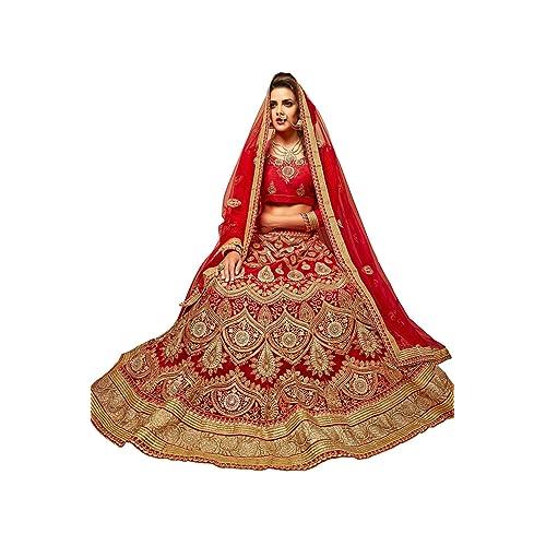 Manvaa Womens Net Lehenga Choli ASMMTZ7006B Red Free Size