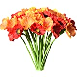 """Mandy's 30pcs Orange and red Artificial Poppy Flower for Wedding Home & Kitchen PU 12.5"""" (vase not Include)"""