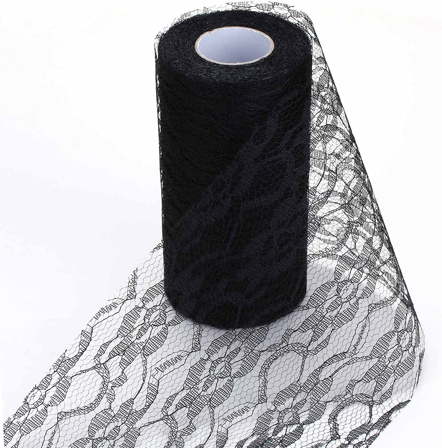 Vlovelife Black 6 x 25Yards Vintage Lace Roll Fabric Polyester Tulle Roll For Tutu Skirt Table Runner Chair Sash Bow DIY Wedding Party Art Craft Decor