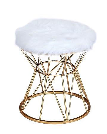 ideen Gepolsterter cm Kunstfell 49 x mit Schemel x Metallgestell 40 Sitzfläche Stuhl Rund 40 Polsterhocker Gold ts mit Weiss xoeBQCWErd