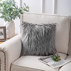 "Phantoscope Decorative New Luxury Series Merino Style Grey Fur Throw Pillow Case Cushion Cover 18"" x 18"" 45cm x 45cm"