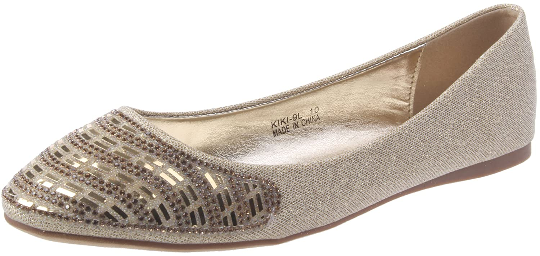 995e977aa3 Amazon.com   DBDK Women's Casual Pointed Toe Slip On Rhinestone Fashion  Dress Ballet Flat Gold 8.5   Flats