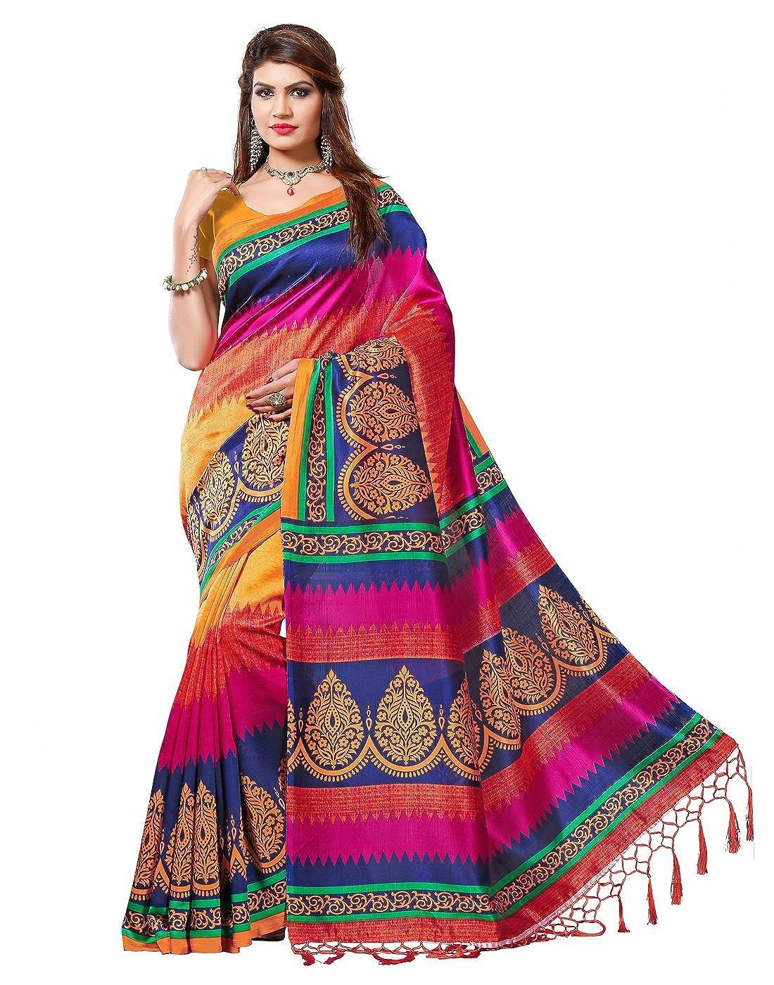 e-VASTRAM Women's Mysore Art Silk Saree with Blouse Piece