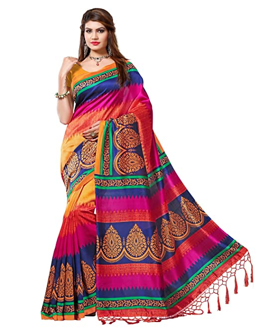 c761b625266fa e-VASTRAM Art Silk Saree with Blouse Piece (NSTASSELMULTI Pink One Size)   Amazon.in  Clothing   Accessories