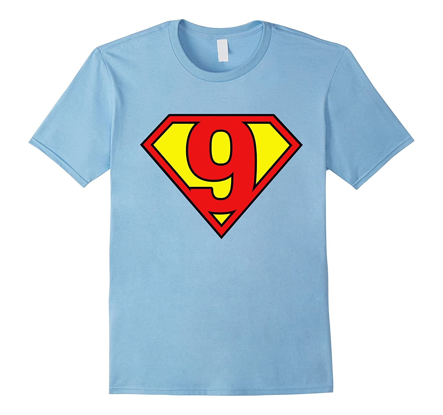 Super Hero 9th Birthday Tshirt Gift 9 Years old Kid Boy Girl