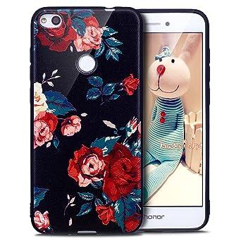 Kompatibel mit Huawei P8 Lite 2017 Hülle,Huawei P8 Lite 2017 Schutzhülle,Bunte Gemalt Weich Schwarz TPU Silikon Hülle Tasche