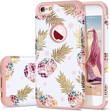 Coque pour iPhone 6, iPhone 6S - Ananas - Fine - Design floral ananas - Anti-rayures et antidérapant - Coque rigide en caoutchouc souple - Coque en ...
