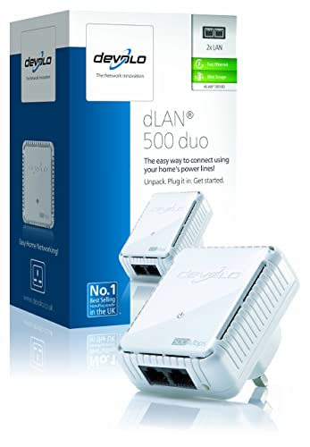 devolo dLAN 500 duo Add-On Power Line Adapter (500 Mbps, 1 x PLC Homeplug  Adapter, 2 x LAN Ports, Compact Design, Internet Signal Booster, Ethernet Access Over Power Line, Power Save Technology) - White