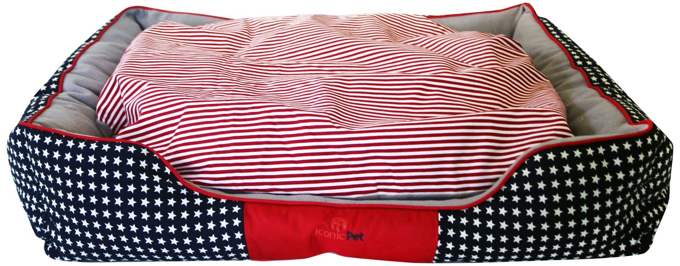 Iconic Pet Freedom Luxury Lounge Beds, Large, Red/White/Blue