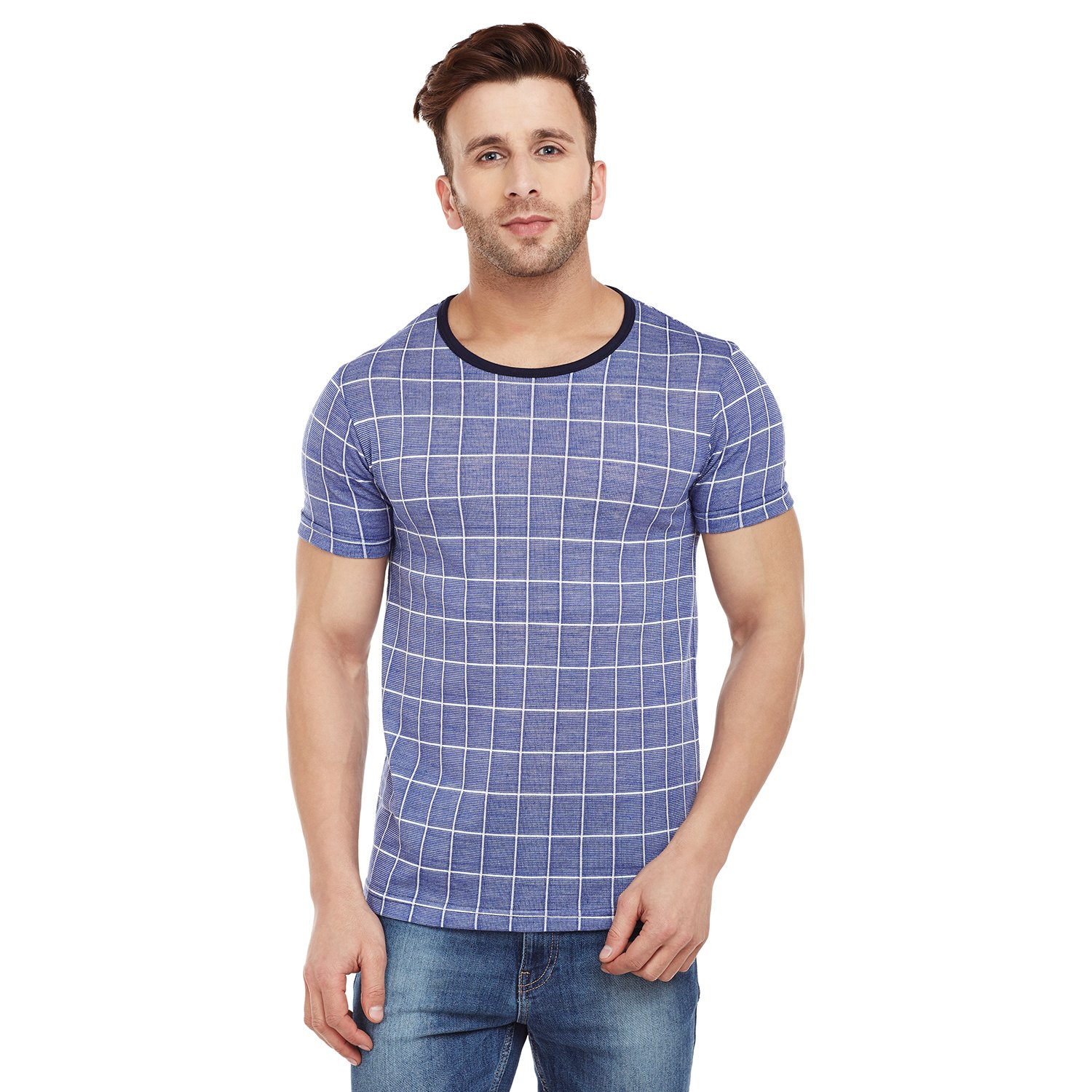 cb66abc65 VIMAL Black Check Print Round Neck Tshirt for Men: Amazon.in: Clothing &  Accessories