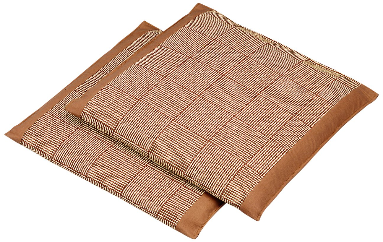 Set of 2 Organize It All Soft Woven Straw Floor Mats Light Tan /& Brown 29838W