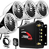 "GoHawk TJ4-Q 1000W 4 Channel Amplifier 4"" Full Range Waterproof Bluetooth Motorcycle Stereo Speakers Audio System AUX USB SD"