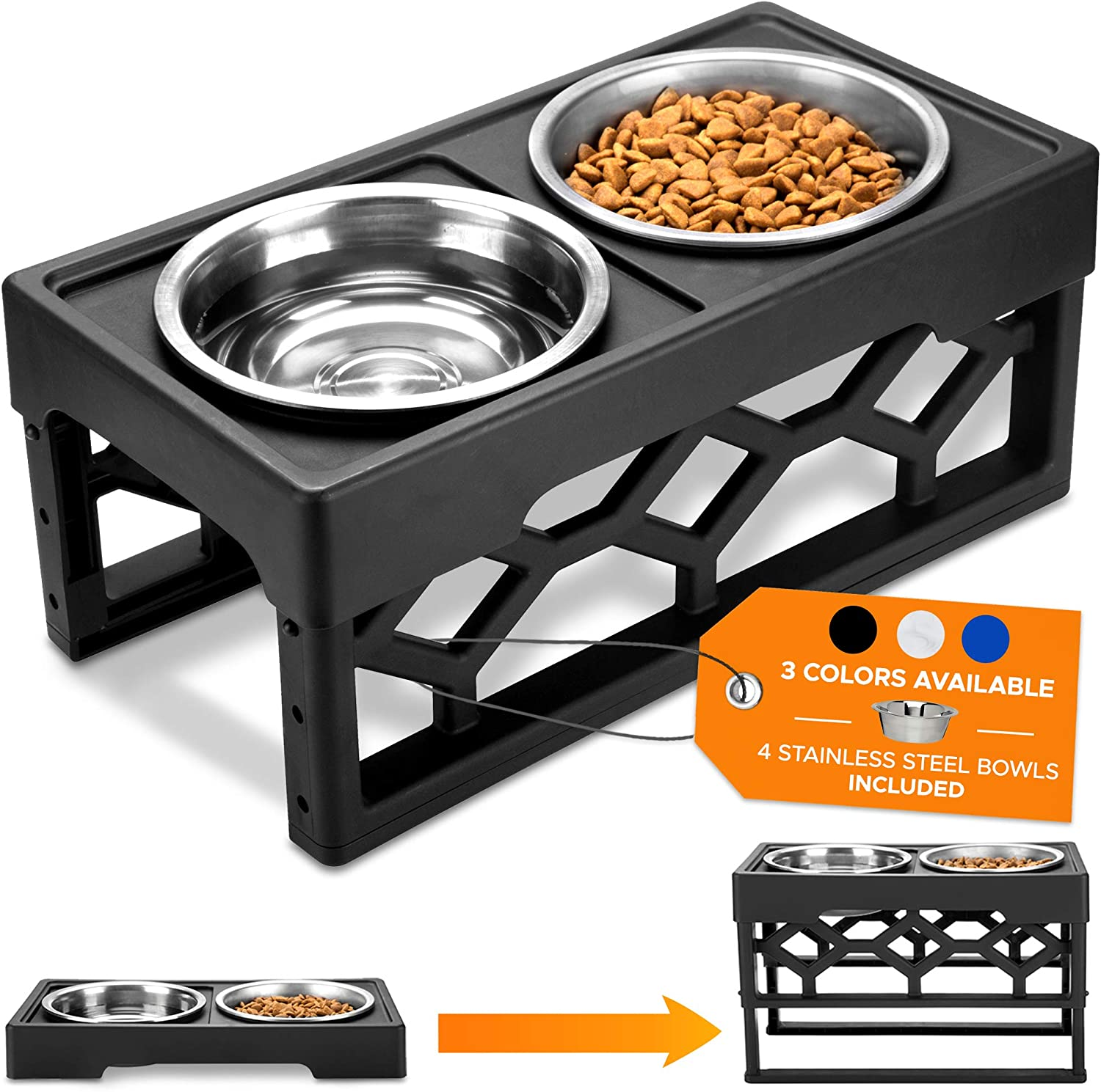 AVERYDAY Dog Food Stand Raised Dog Bowls For Large Dogs - 4 Adjustable Dog Bowl Stand + 4 Stainless Steel Dog Dish - Perfect Dog Feeder Raised Dog Bowl Elevated Dog Bowls For Large Dogs And Senior Dog